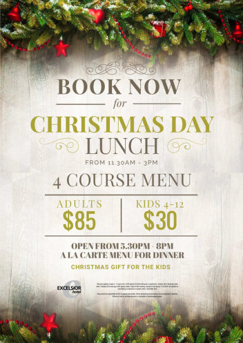 BOOK NOW FOR CHRISTMAS DAY LUNCH OR DINNER