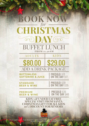 BOOK NOW FOR CHRISTMAS DAY BUFFET LUNCH
