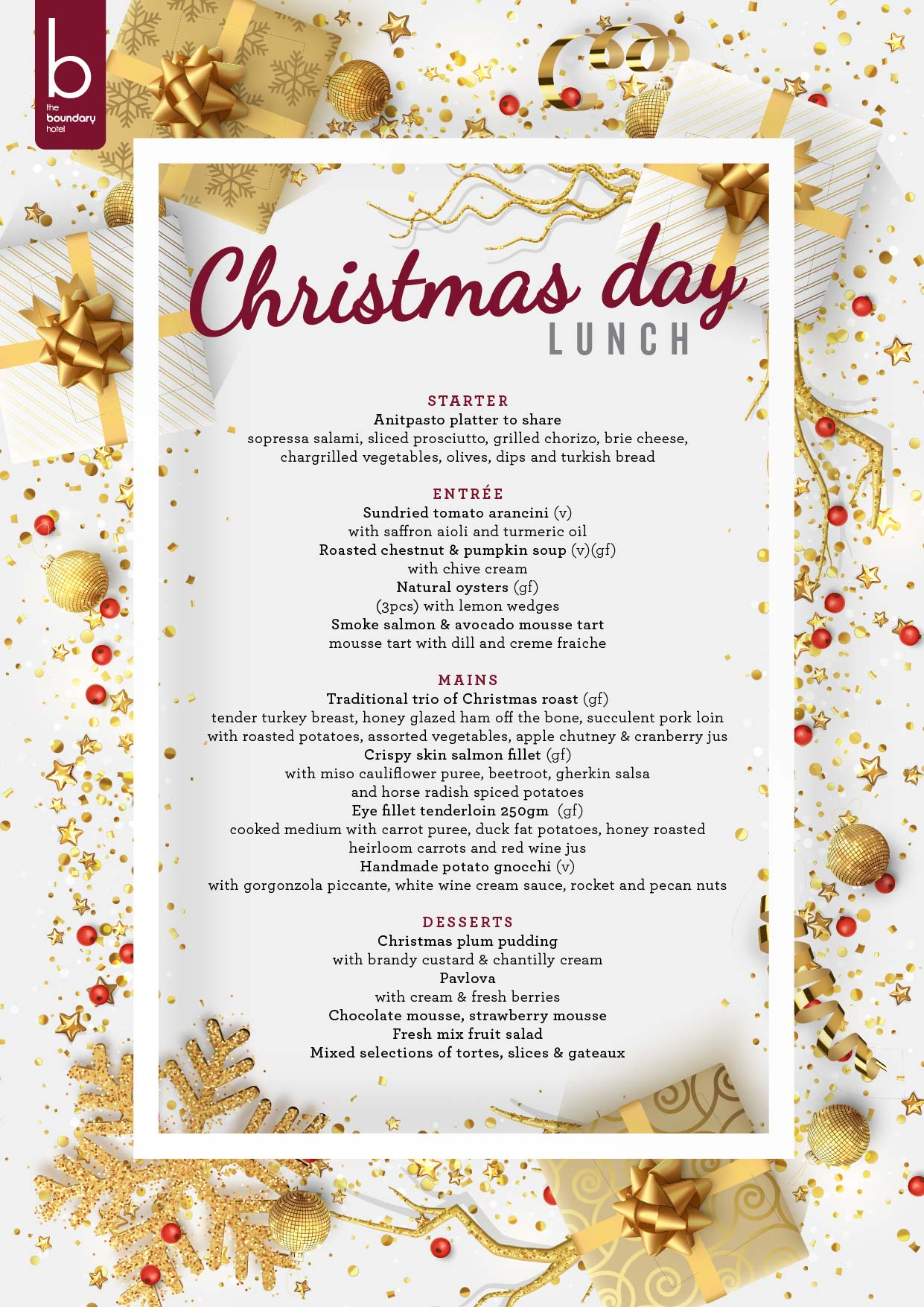 Boundary Hotel Christmas Day Lunch tickets (Boundary Hotel) from ...
